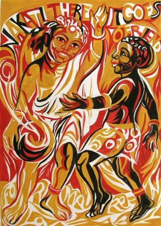 African-tales_mother-and-son_tempera_1